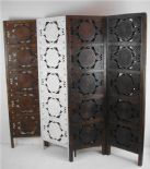 4 Panel Hand Carved Indian Screen Wooden Swirl Design Screen Room Divider